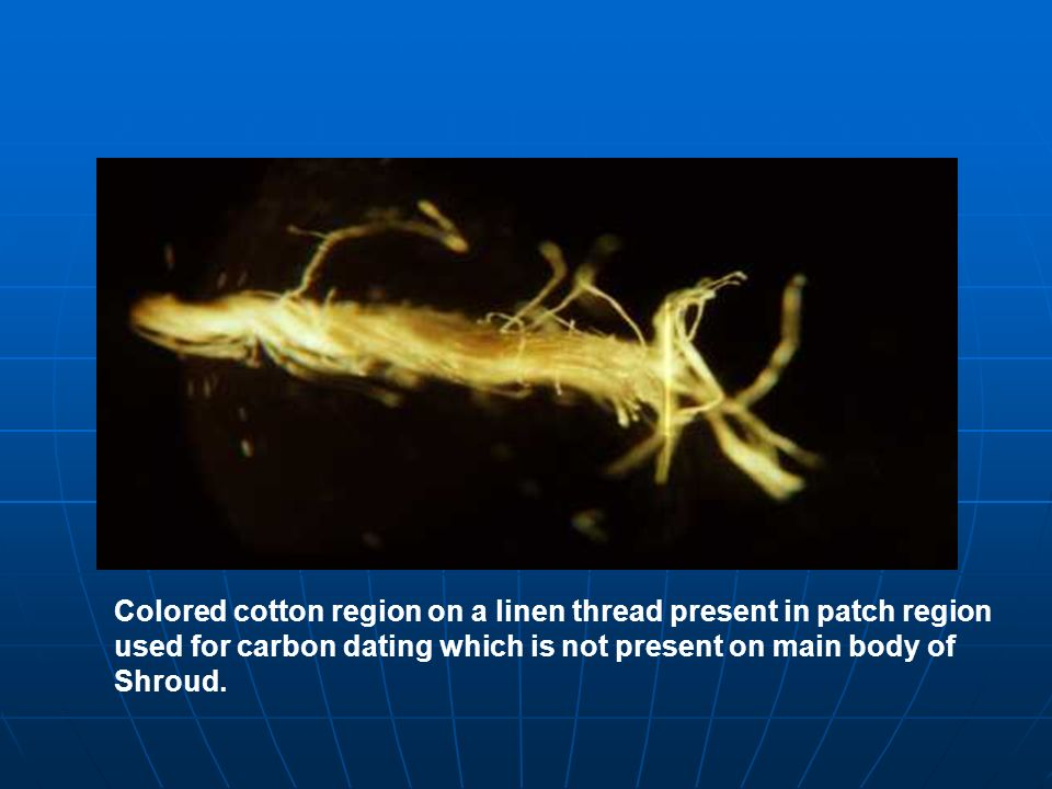 Colored cotton region on a linen thread present in patch region