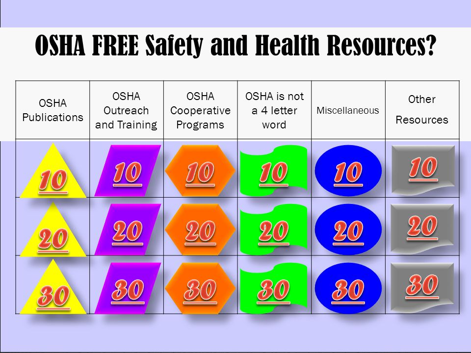 OSHA FREE Safety and Health Resources