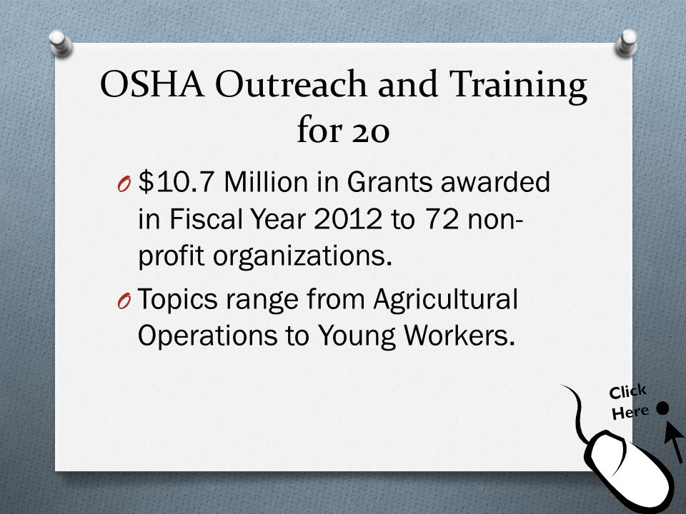 OSHA Outreach and Training for 20