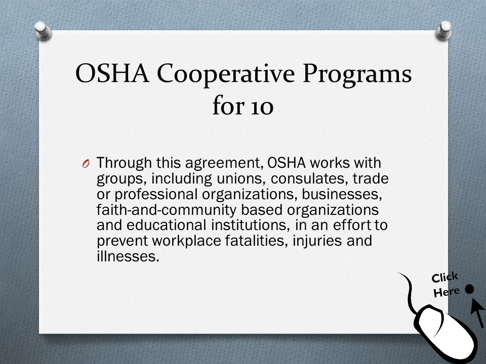 OSHA Cooperative Programs for 10