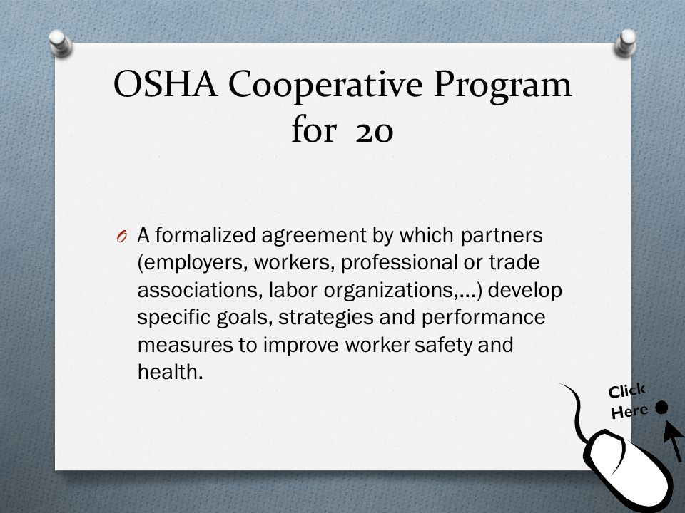 OSHA Cooperative Program for 20