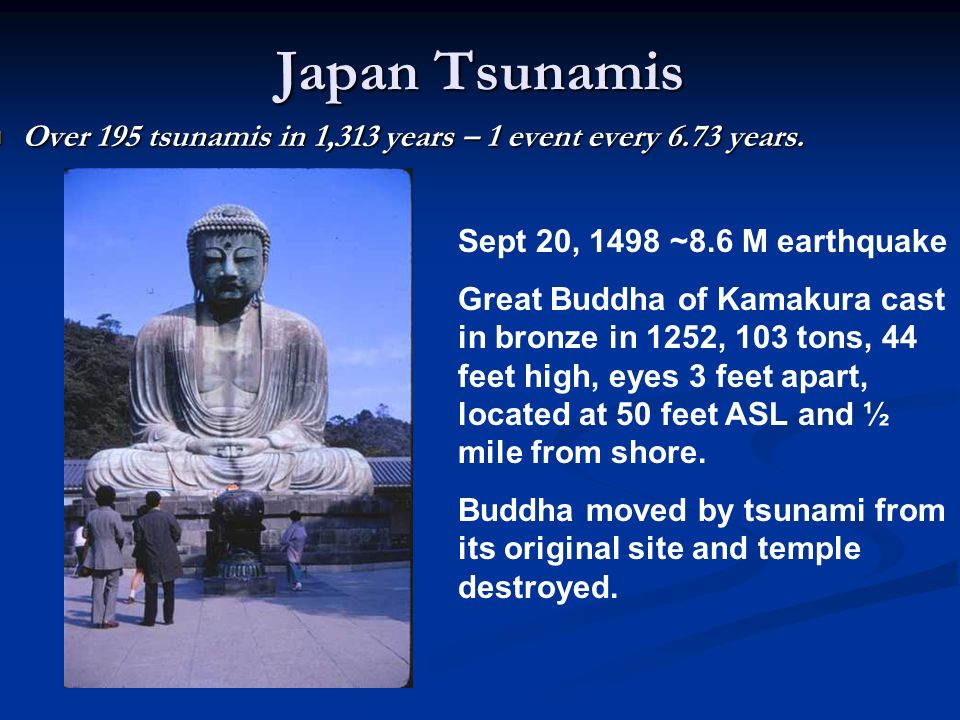 Japan Tsunamis Over 195 tsunamis in 1,313 years – 1 event every 6.73 years. Sept 20, 1498 ~8.6 M earthquake.