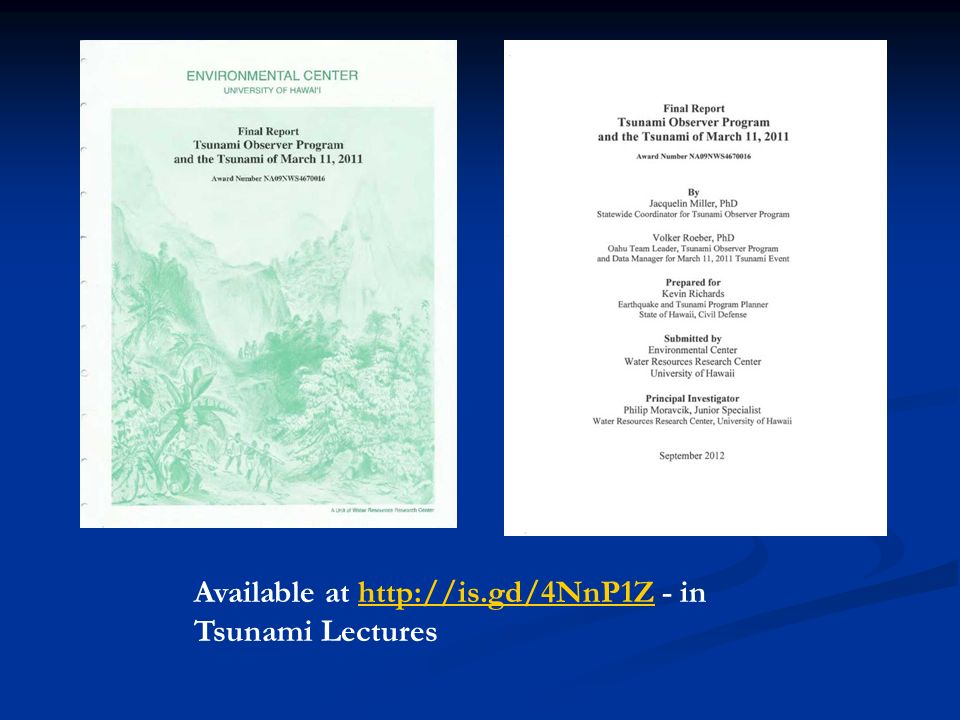 Available at http://is.gd/4NnP1Z - in Tsunami Lectures