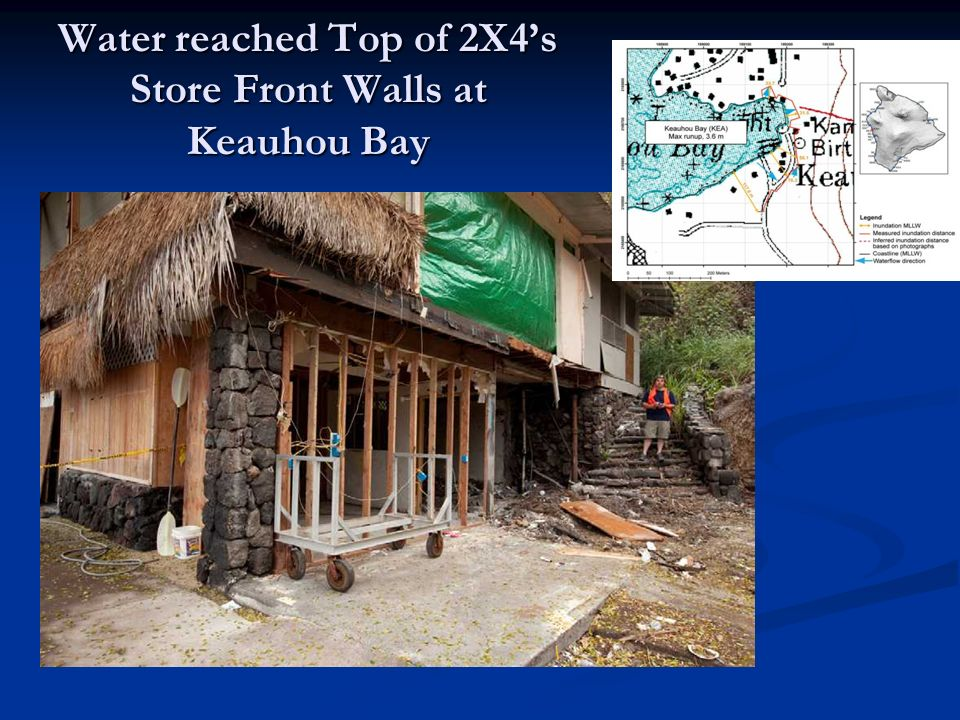 Water reached Top of 2X4's Store Front Walls at Keauhou Bay