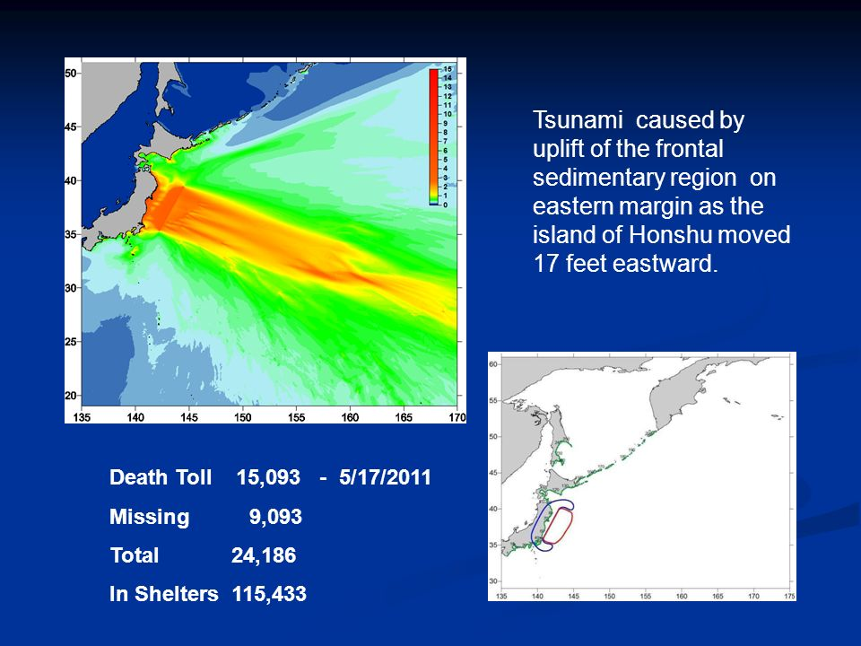 Tsunami caused by uplift of the frontal sedimentary region on eastern margin as the island of Honshu moved 17 feet eastward.