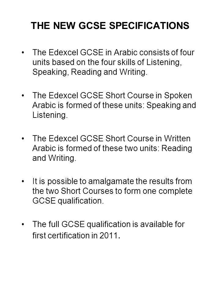 THE NEW GCSE SPECIFICATIONS