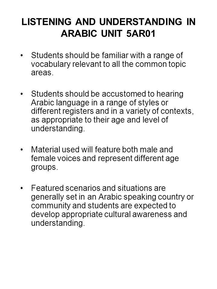 LISTENING AND UNDERSTANDING IN ARABIC UNIT 5AR01