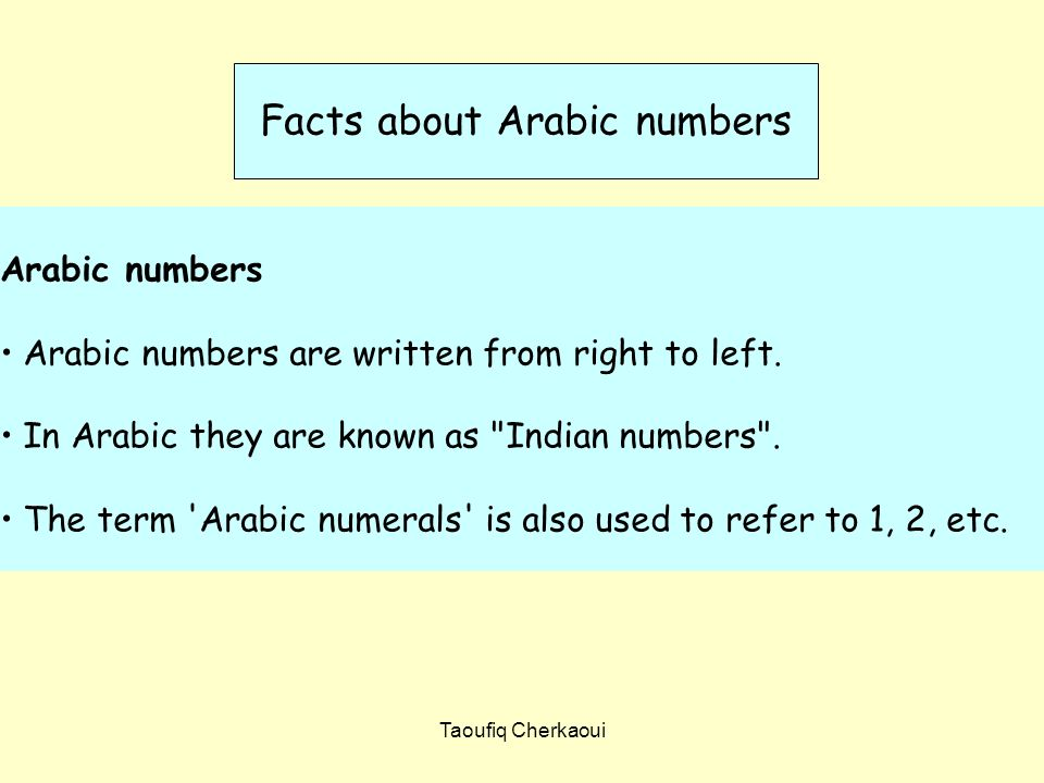 Facts about Arabic numbers