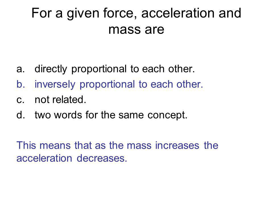 For a given force, acceleration and mass are