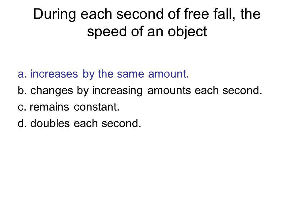 During each second of free fall, the speed of an object