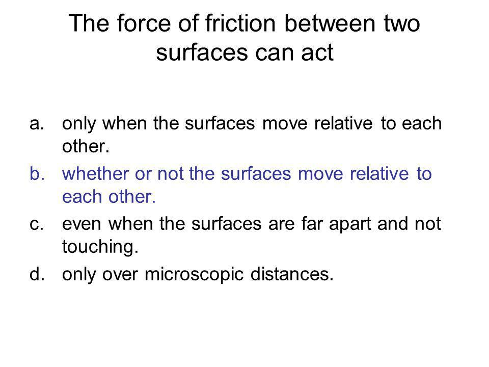 The force of friction between two surfaces can act
