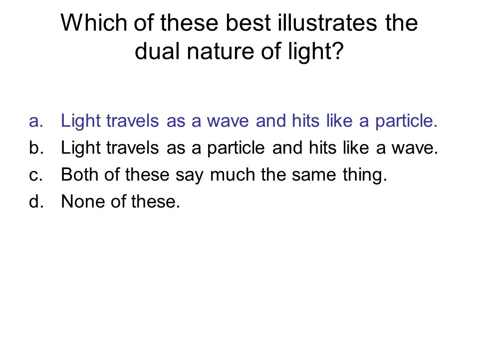 Which of these best illustrates the dual nature of light