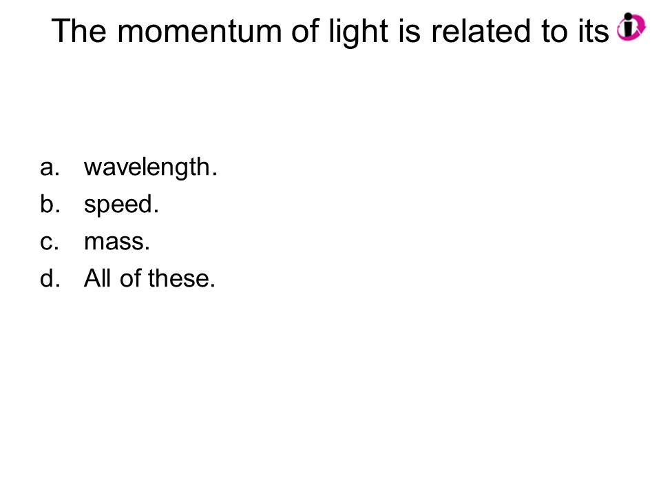 The momentum of light is related to its