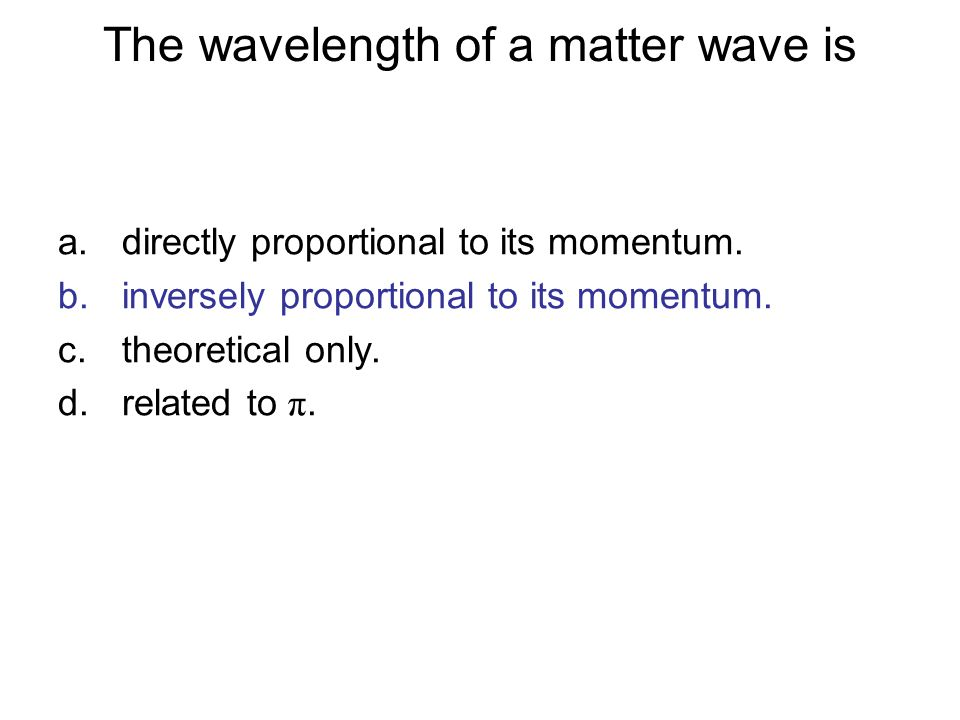 The wavelength of a matter wave is