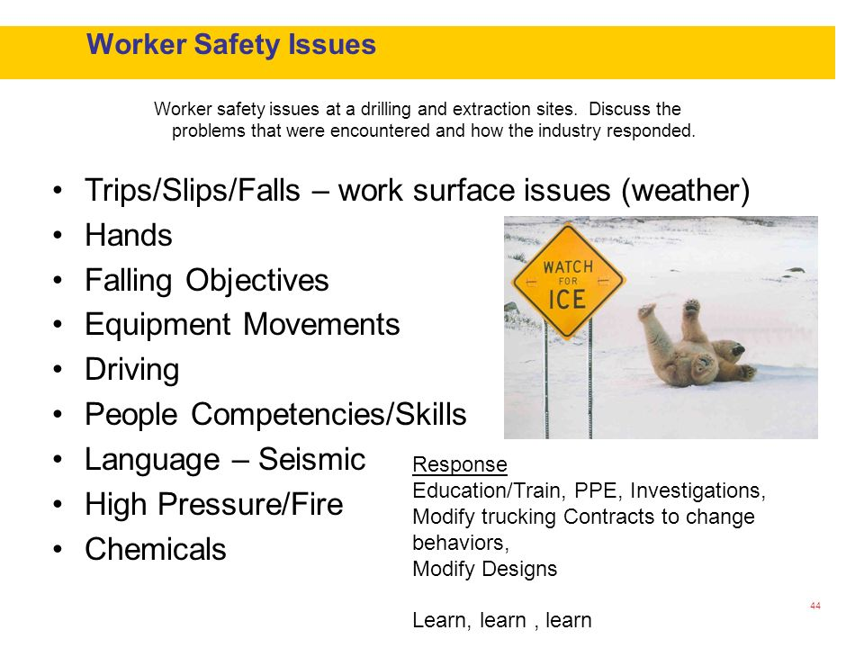 Trips/Slips/Falls – work surface issues (weather) Hands