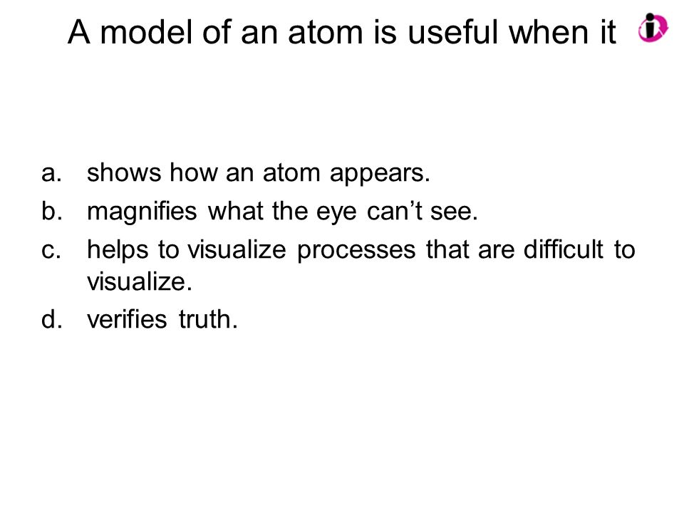 A model of an atom is useful when it