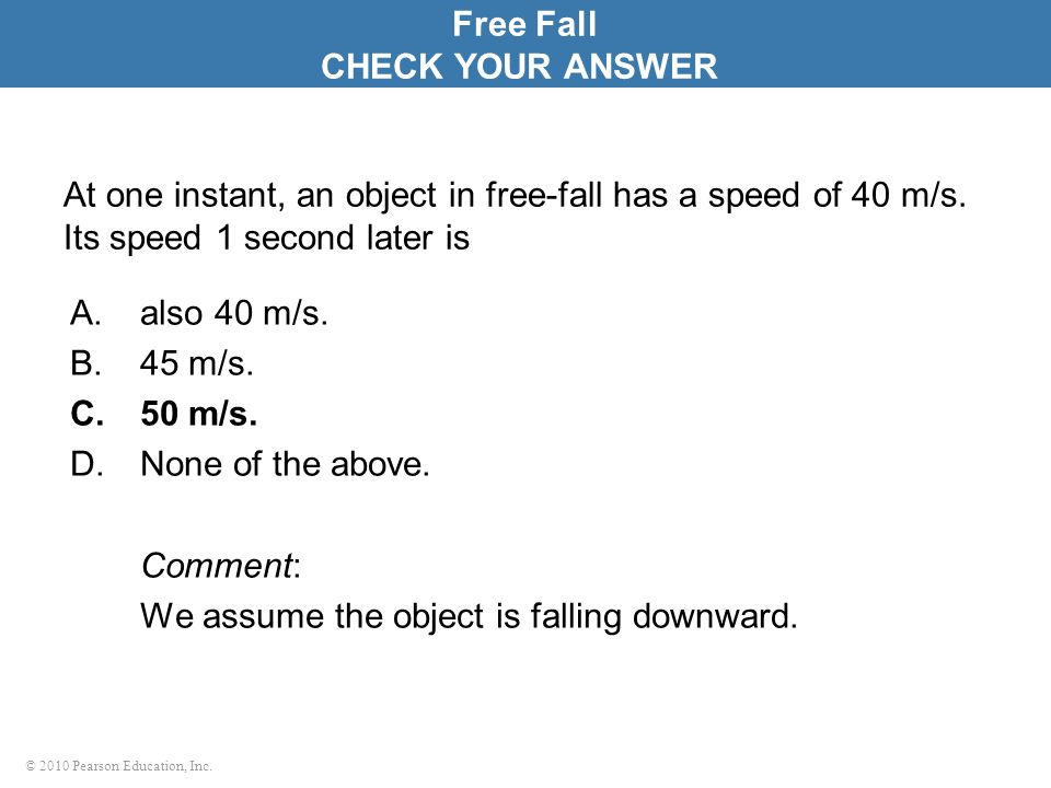 Free Fall CHECK YOUR ANSWER