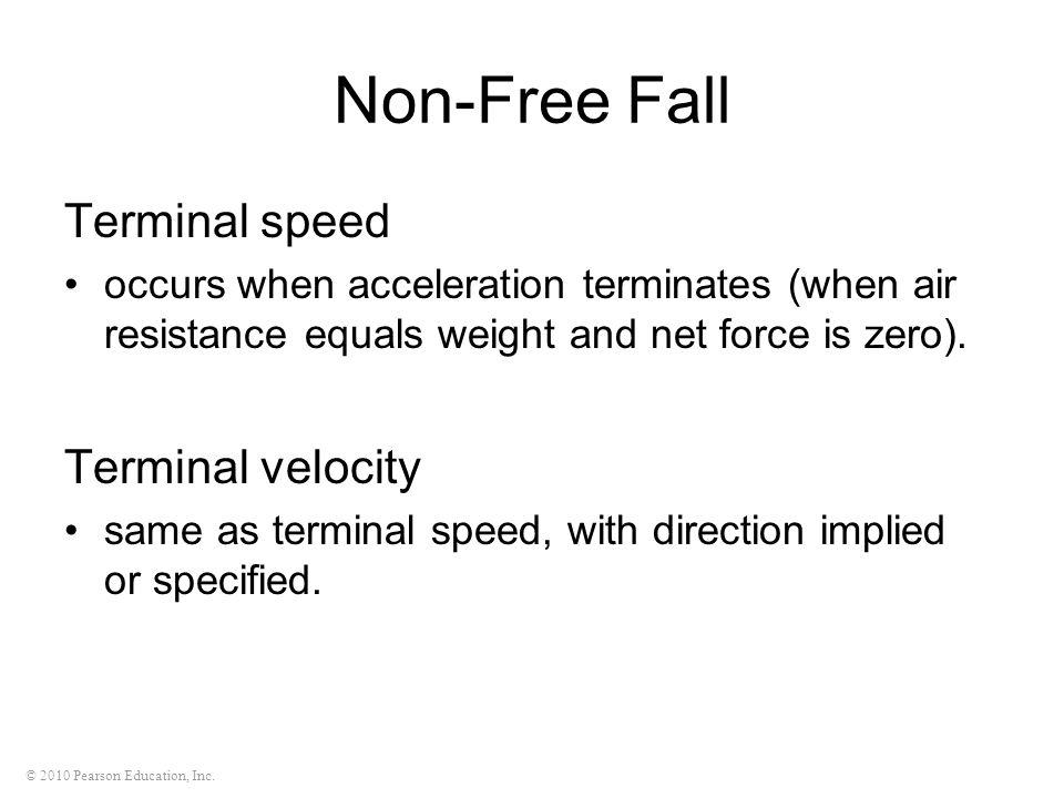 Non-Free Fall Terminal speed Terminal velocity