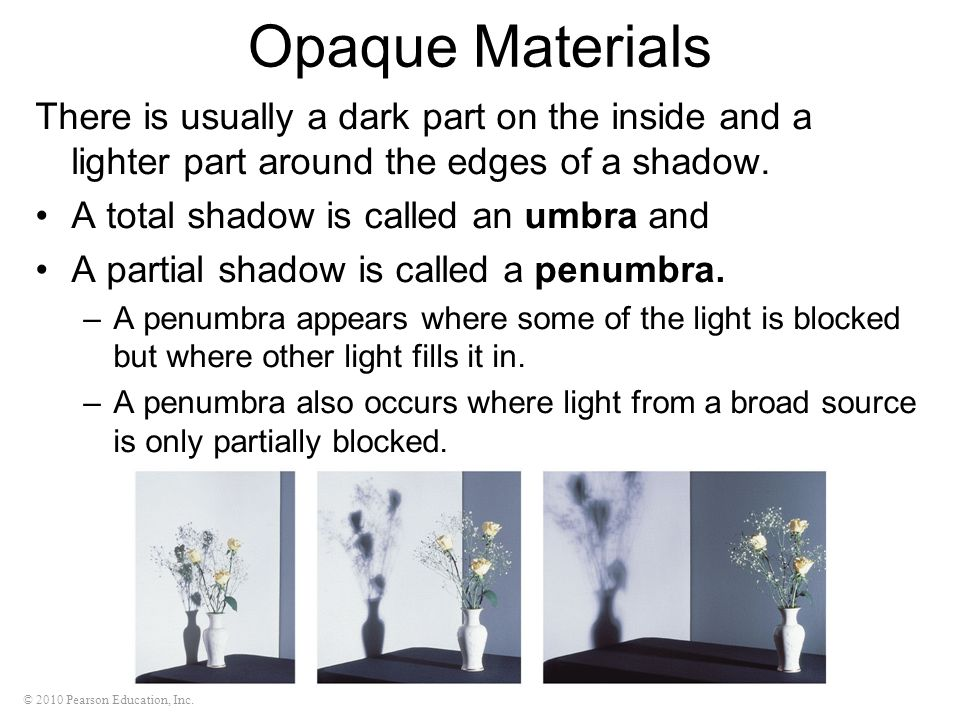 Opaque Materials There is usually a dark part on the inside and a lighter part around the edges of a shadow.