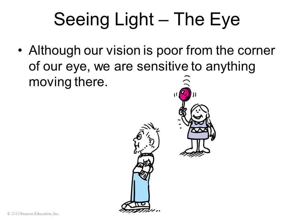 Seeing Light – The Eye Although our vision is poor from the corner of our eye, we are sensitive to anything moving there.