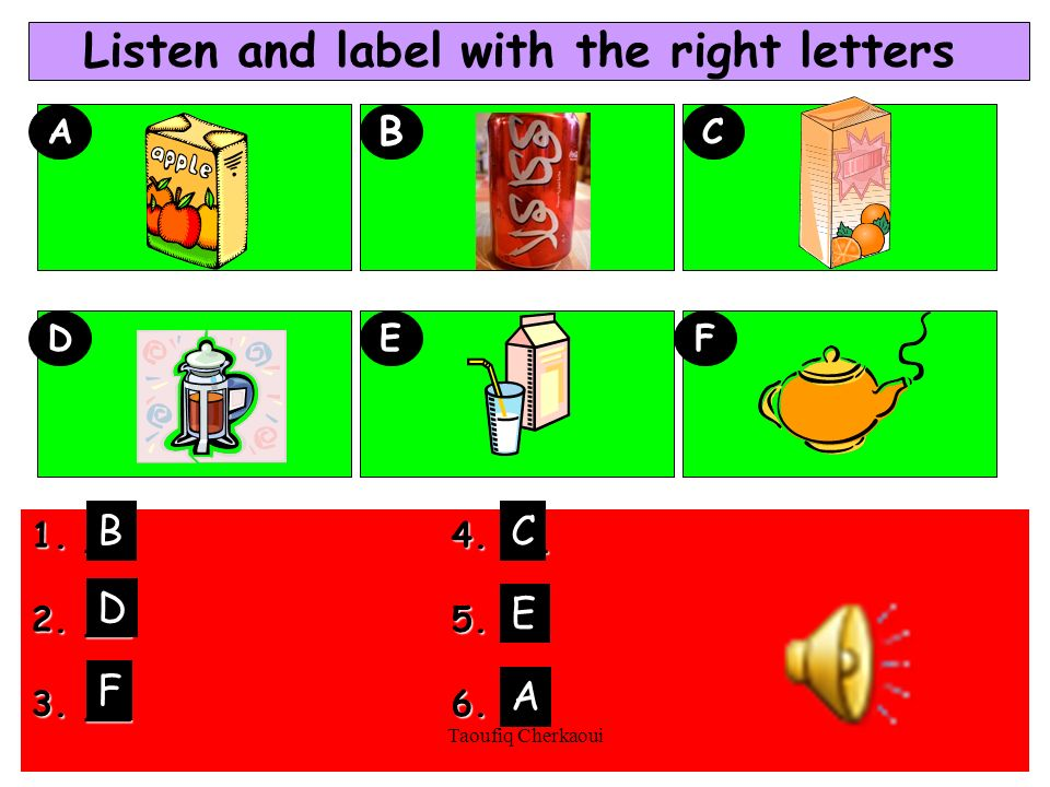 Listen and label with the right letters