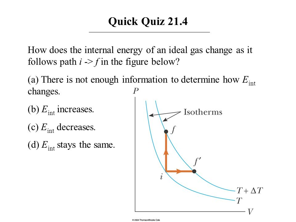 Quick Quiz 21.4 How does the internal energy of an ideal gas change as it follows path i -> f in the figure below