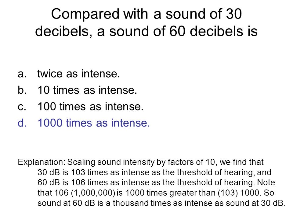 Compared with a sound of 30 decibels, a sound of 60 decibels is