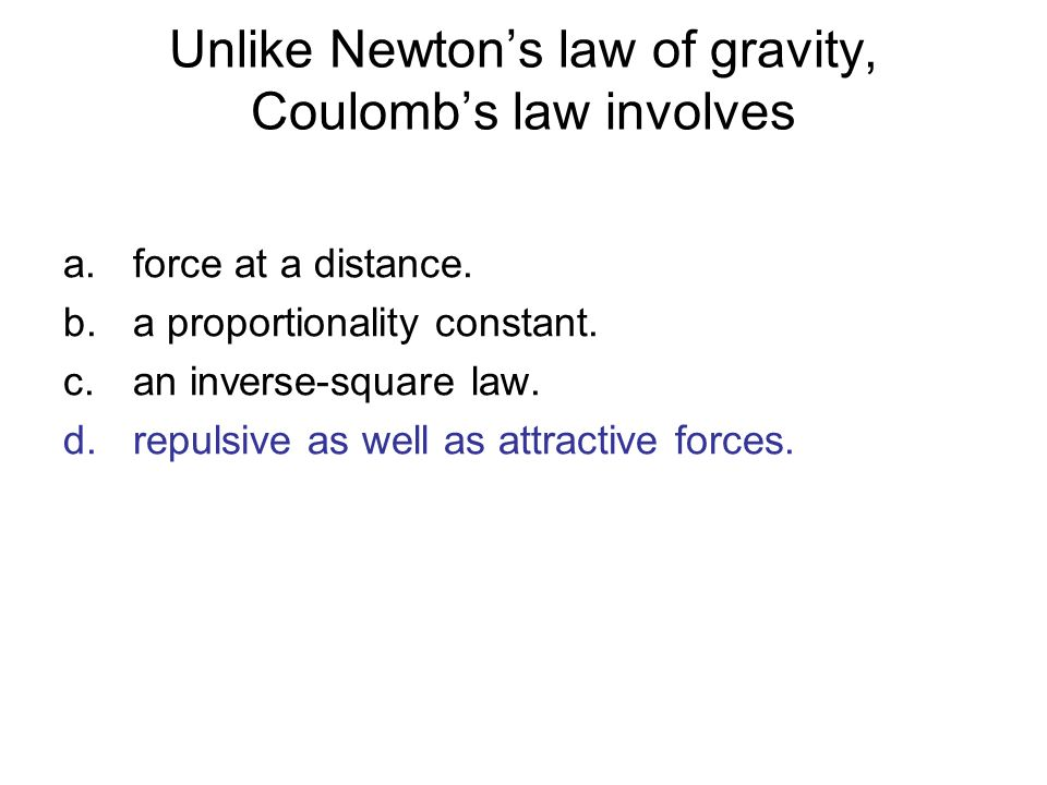 Unlike Newton's law of gravity, Coulomb's law involves