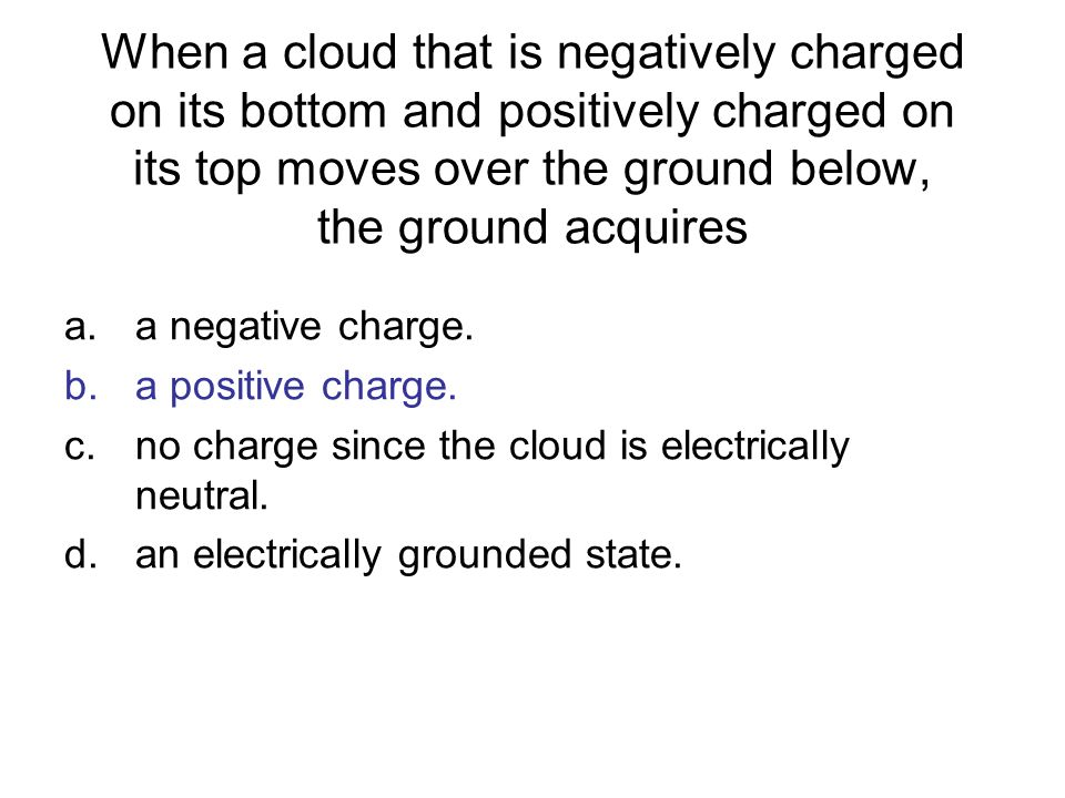 When a cloud that is negatively charged on its bottom and positively charged on its top moves over the ground below, the ground acquires