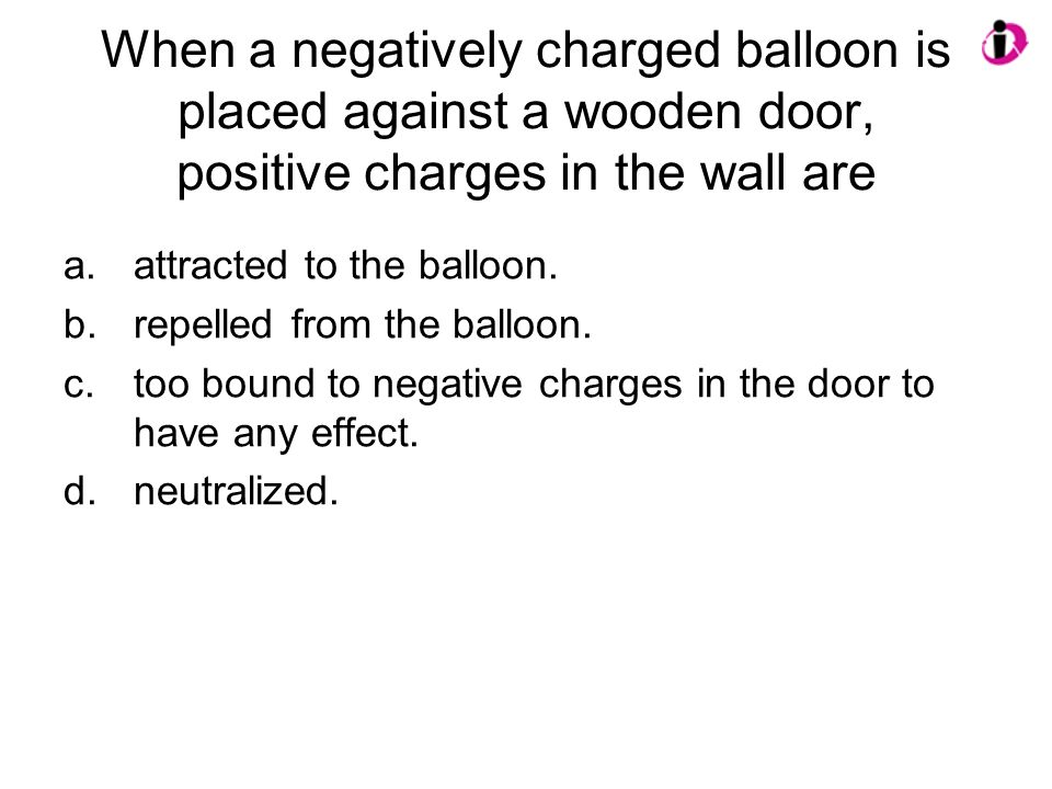 When a negatively charged balloon is placed against a wooden door, positive charges in the wall are