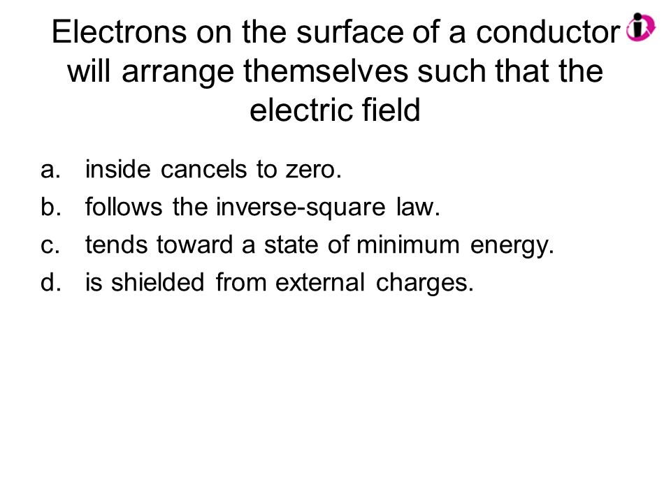 Electrons on the surface of a conductor will arrange themselves such that the electric field