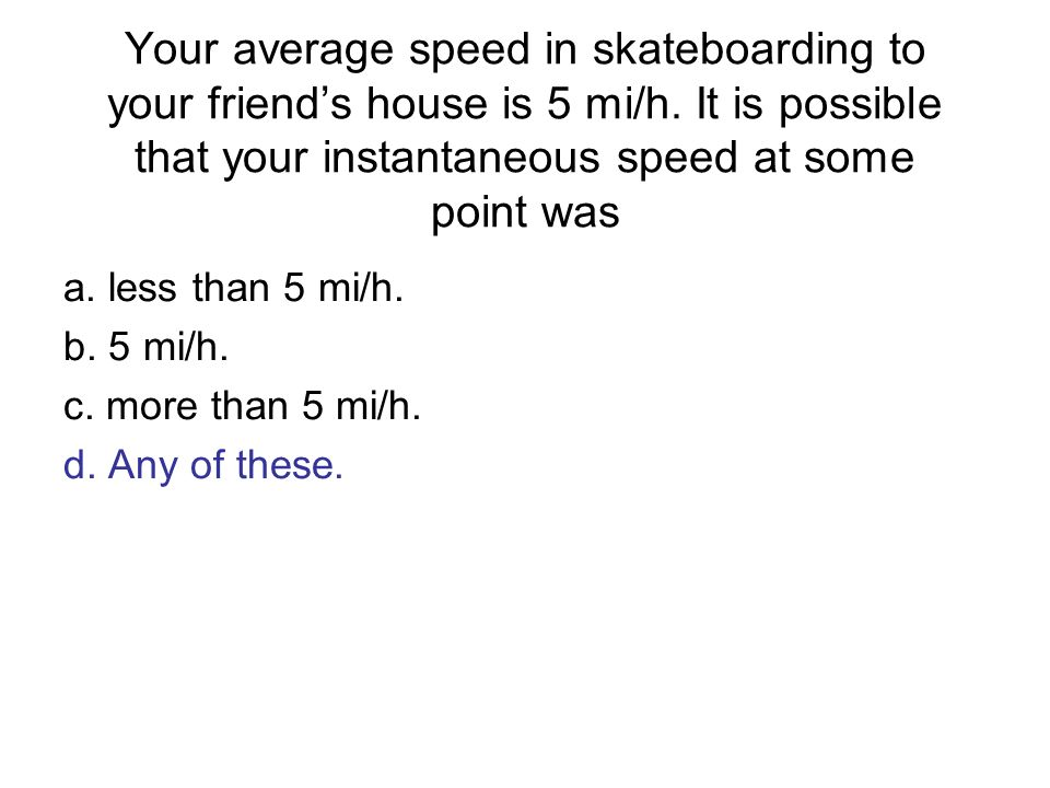 Your average speed in skateboarding to your friend's house is 5 mi/h