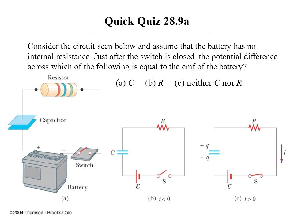 Quick Quiz 28.9a (a) C (b) R (c) neither C nor R.