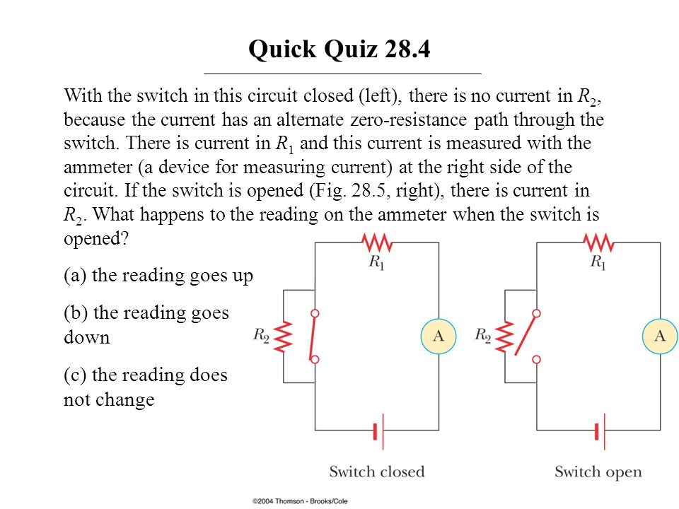 Quick Quiz 28.4 (a) the reading goes up (b) the reading goes down