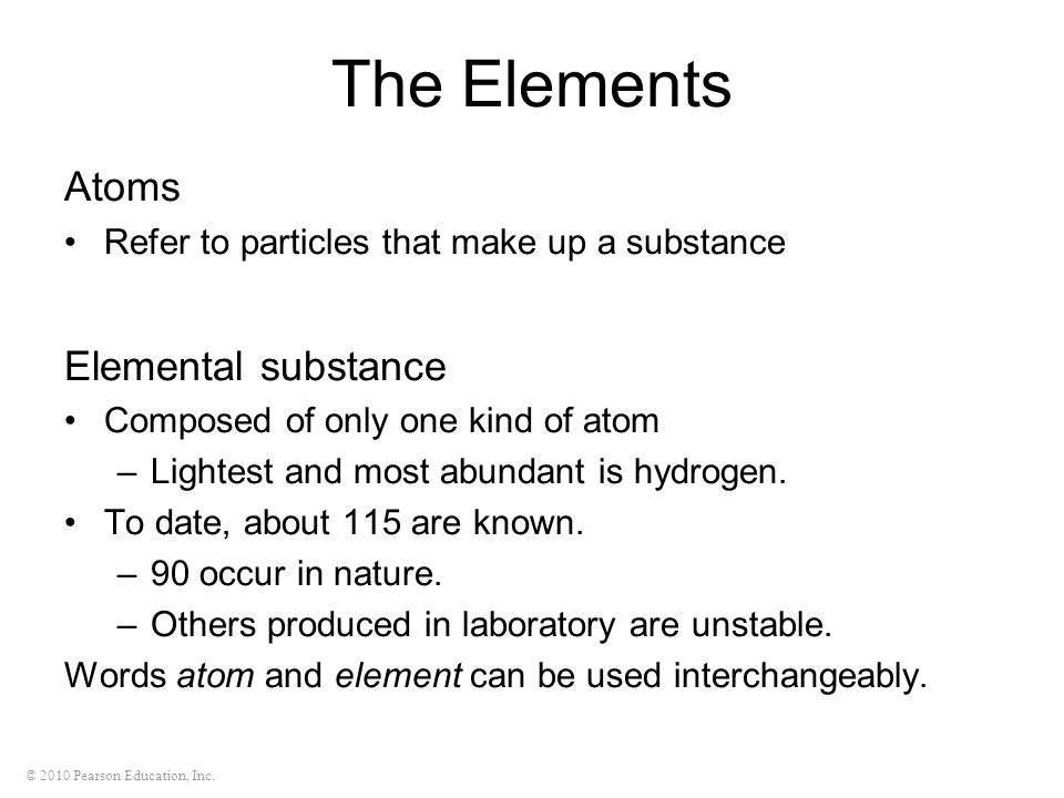 The Elements Atoms Elemental substance
