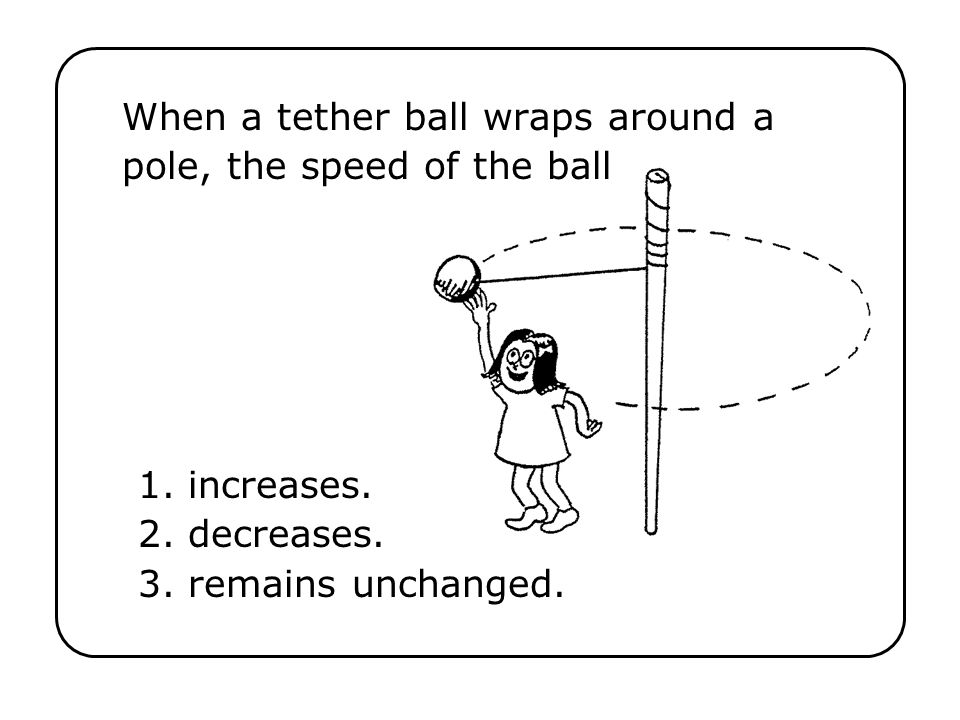 When a tether ball wraps around a pole, the speed of the ball