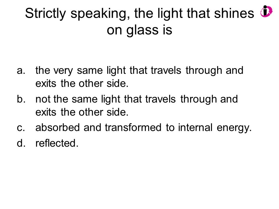 Strictly speaking, the light that shines on glass is