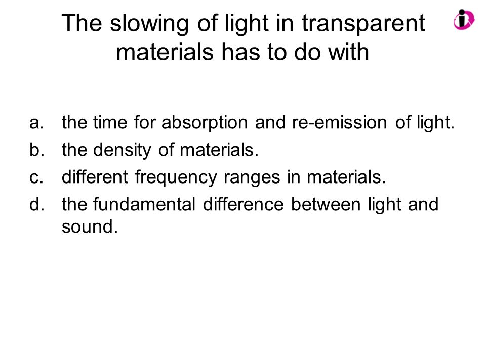 The slowing of light in transparent materials has to do with