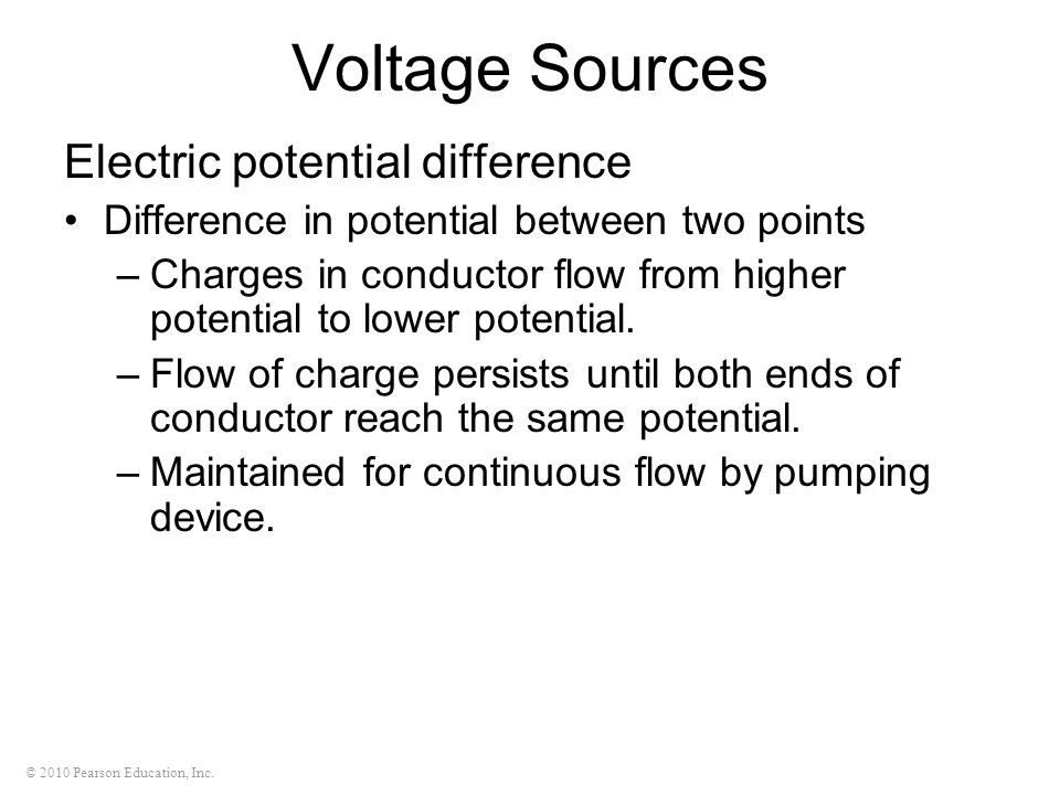 Voltage Sources Electric potential difference