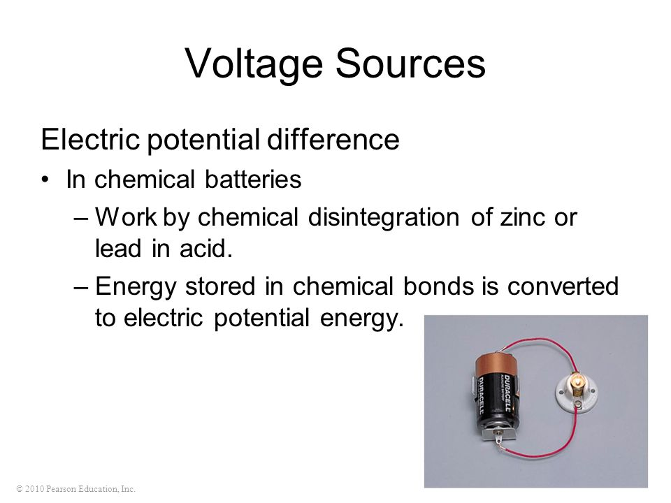 Voltage Sources Electric potential difference In chemical batteries