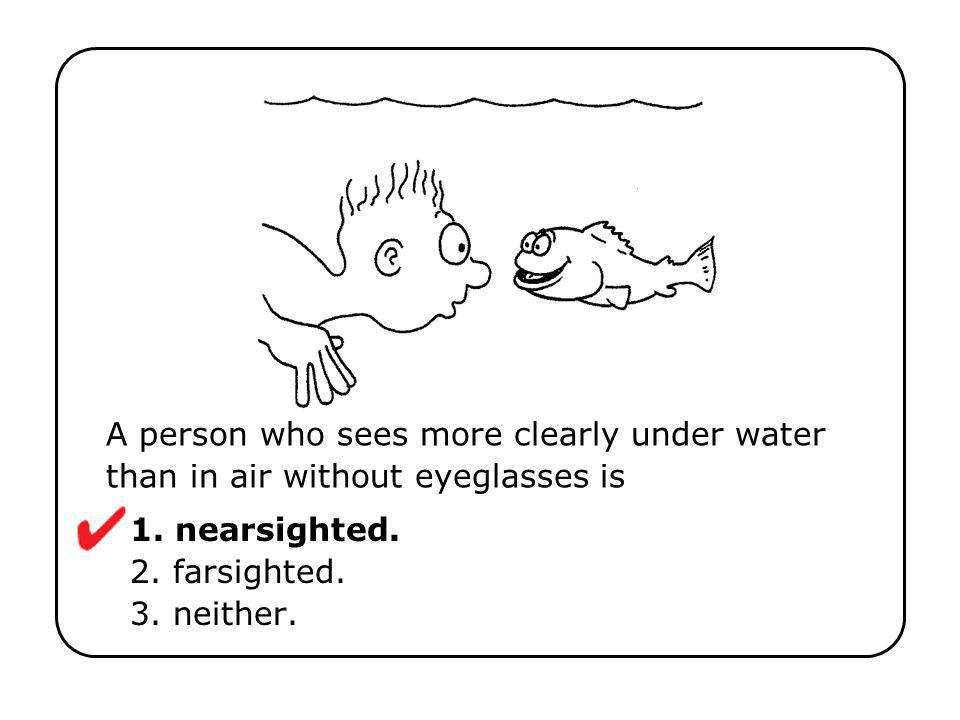 1. nearsighted. 2. farsighted. 3. neither.