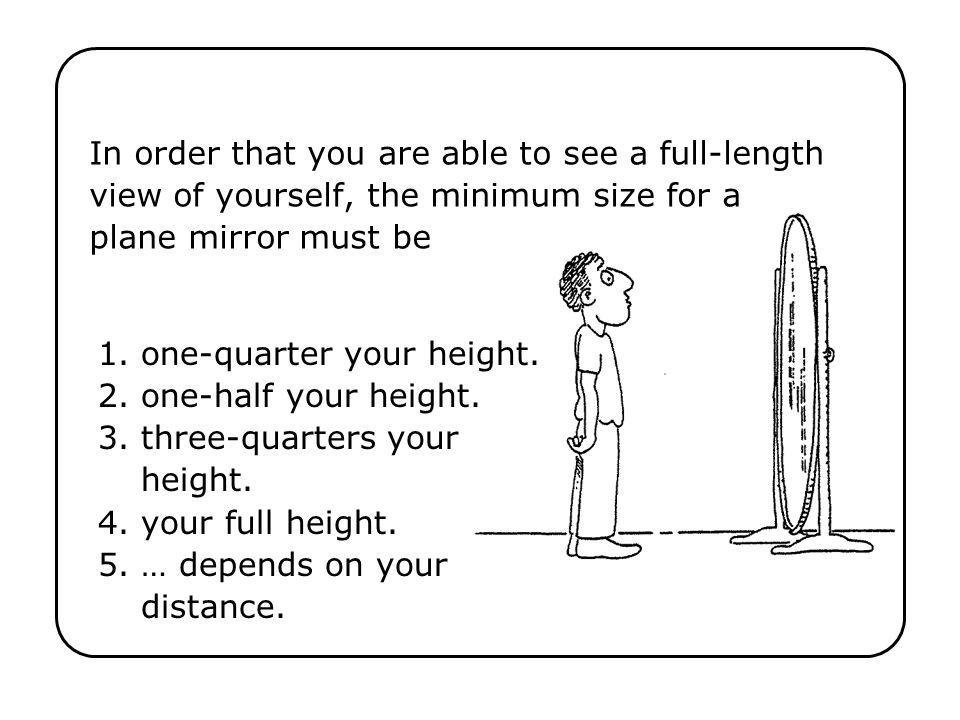 In order that you are able to see a full-length view of yourself, the minimum size for a plane mirror must be