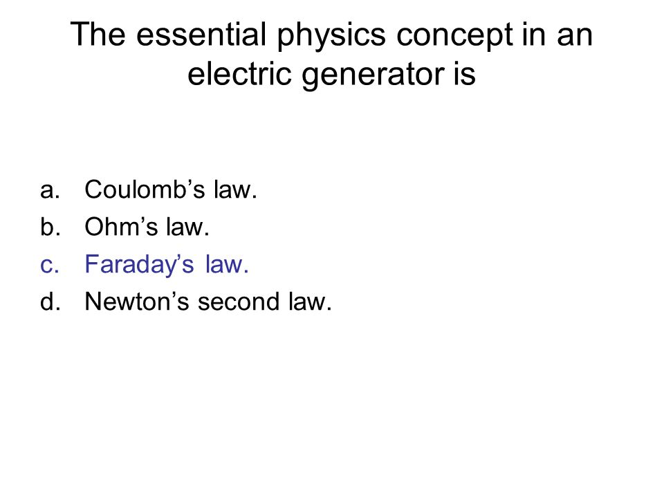 The essential physics concept in an electric generator is
