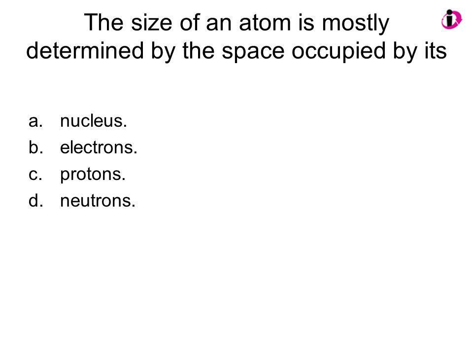The size of an atom is mostly determined by the space occupied by its