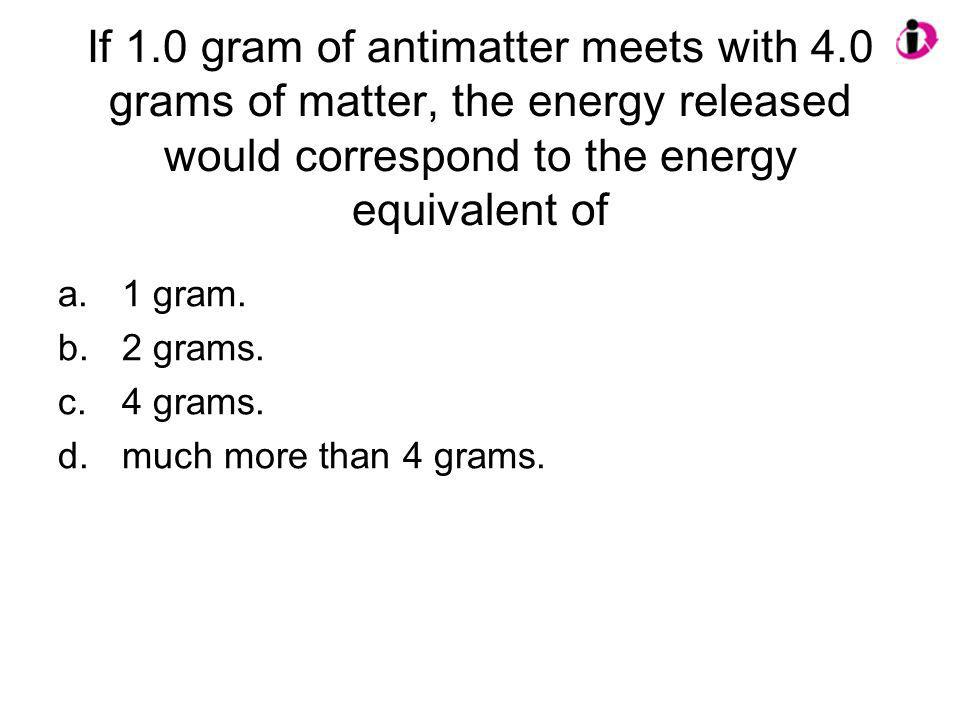 If 1. 0 gram of antimatter meets with 4