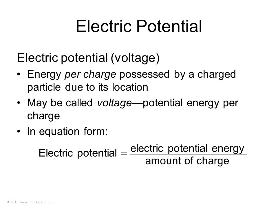Electric Potential Electric potential (voltage)