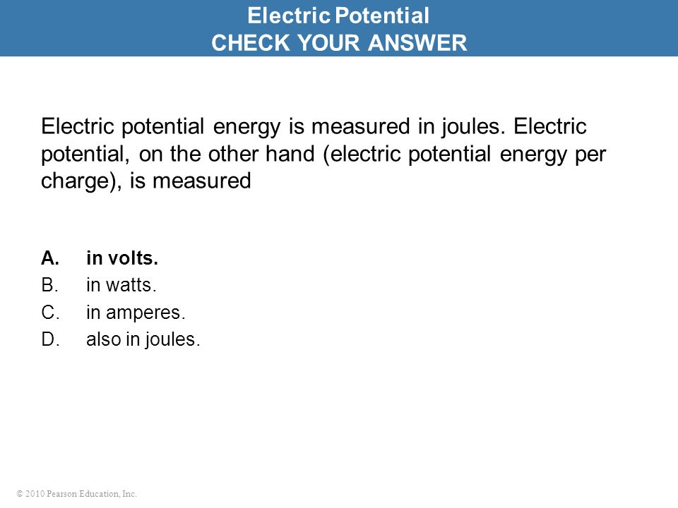 Electric Potential CHECK YOUR ANSWER