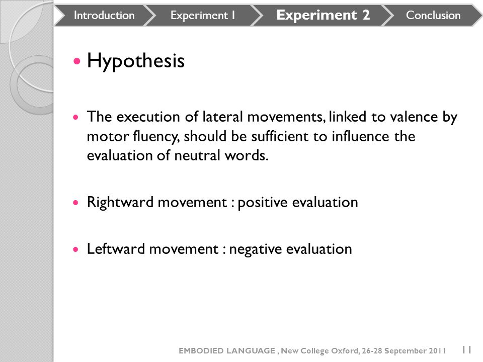 Introduction Experiment 1. Experiment 2. Conclusion. Hypothesis.