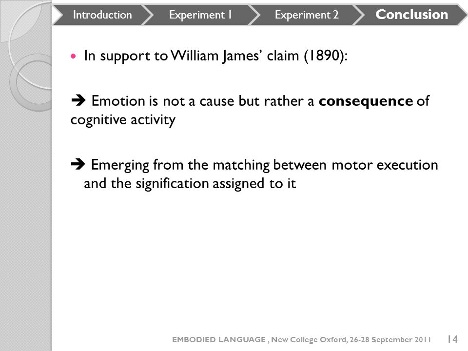 In support to William James' claim (1890):