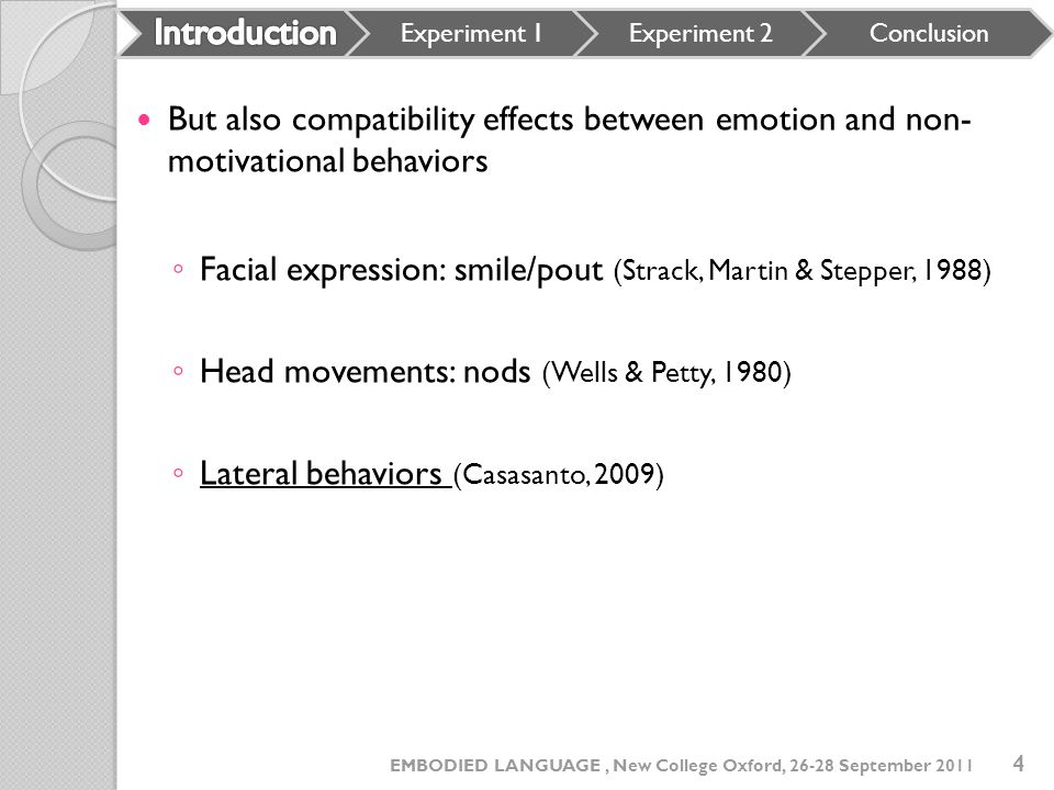 Introduction Experiment 1. Experiment 2. Conclusion. But also compatibility effects between emotion and non- motivational behaviors.